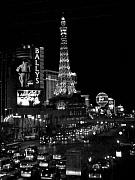 The Strip Photo Framed Prints - The Strip by night b-w Framed Print by Anita Burgermeister