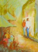 People Pastels Posters - The Stroll Poster by LaDonna Kruger