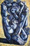 Surrealism Drawings Originals - The struggle by Darwin Leon