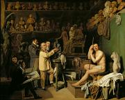 Sculpture Painting Prints - The Studio of Jean Antoine Houdon Print by Louis Leopold Boilly