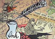 Feather Pen Prints - The Studious Rabbit and the Monkey Print by Eloise Schneider