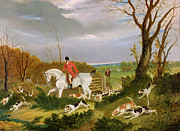 Hunt Metal Prints - The Suffolk Hunt - Going to Cover near Herringswell Metal Print by John Frederick Herring Snr