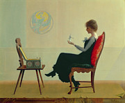 Doll Paintings - The Suitors by Harry Wilson Watrous