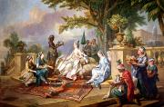 Fountain Painting Prints - The Sultana Served by her Eunuchs Print by Charles Amedee Philippe van Loo