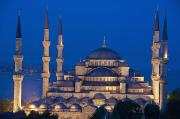 Domes Photo Prints - The Sultanahmet Or Blue Mosque At Dusk Print by Axiom Photographic
