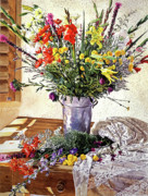 Floral Arrangement Paintings - The Summer Room by David Lloyd Glover