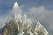 Snow Scenes Prints - The Summit Of Cerro Torre Massif Rises Print by Jimmy Chin