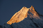 Sunset In Mountains Posters - The Summit Of Manaslu 8156m Taken Poster by Alex Treadway