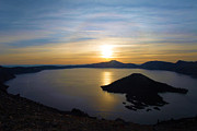 Crater Lake Sunset Prints - The Sun And The Wizard Print by Adam Jewell