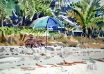 Umbrella Painting Originals - The Sun Bather by Donald Maier