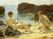 Nude Framed Prints - The Sun Bathers Framed Print by Henry Scott Tuke