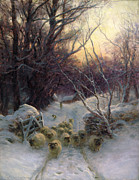 Snowfall Painting Posters - The Sun had closed the Winter Day Poster by Joseph Farquharson