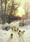Snowfall Painting Framed Prints - The Sun Had Closed the Winters Day  Framed Print by Joseph Farquharson