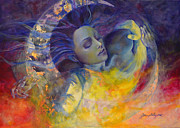 Sunrise Paintings - The sun the moon and the truth by Dorina  Costras
