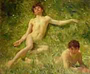 Holiday.summer Posters - The Sunbathers Poster by Henry Scott Tuke