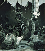 Skull Paintings - The Sundance by Frederic Remington