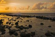 Tidal Forces Prints - The Sunset Over A Tidal Pool In Saint Print by James Forte