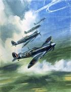 Battle Painting Prints - The Supermarine Spitfire Mark IX Print by Wilfred Hardy