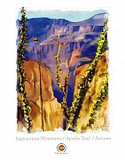 Mountain Mixed Media Prints - The Superstition Mtns. AZ Print by Bob Salo