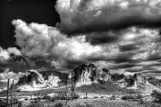 Superstition Mountains Photo Framed Prints - The Supes in Black and White  Framed Print by Saija  Lehtonen