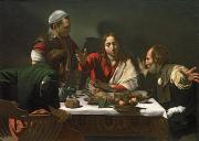 Caravaggio; Michelangelo Merisi Da (1571-1610) Posters - The Supper at Emmaus Poster by Caravaggio