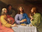 Pilgrims Framed Prints - The Supper at Emmaus Framed Print by Philippe de Champaigne