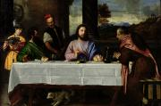 Biblical Framed Prints - The Supper at Emmaus Framed Print by Titian