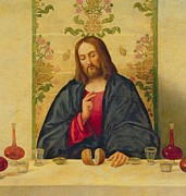 Lord Jesus Christ Framed Prints - The Supper at Emmaus Framed Print by Vincenzo di Biaio Catena