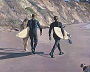 Surfer Metal Prints - The Surfers Metal Print by Merle Keller