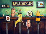Stools Prints - The Sushi Bar Print by Leah Saulnier The Painting Maniac