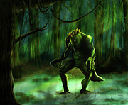 Green Monster Prints - The Swamp Print by Virginia Palomeque