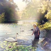 Cindy Grundsten Posters - The swan and the fairy  Poster by Cindy Grundsten