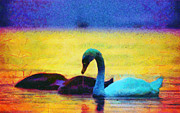 Picturesque Painting Prints - The swan family Print by Odon Czintos