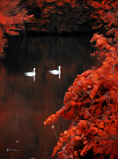 Red Autumn Posters - The Swan Pair Poster by Bill Cannon