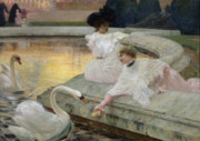 White Dress Painting Prints - The Swans Print by Joseph Marius Avy