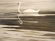 The Swans Song....melody Of Motherhood Print by Barbara McNeil