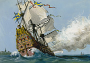 Warship Painting Posters - The Swedish Warship Vasa Poster by Ralph Bruce