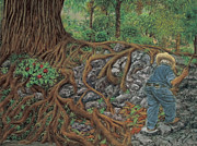 Tree Roots Pastels Originals - The Sweeper by Jim Barber Hove