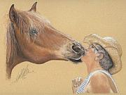 Equine Pastels Framed Prints - The Sweet Bond of Affection Framed Print by Terry Kirkland Cook