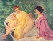 Nude Canvas Paintings - The Swim or Two Mothers and Their Children on a Boat by Mary Stevenson Cassatt