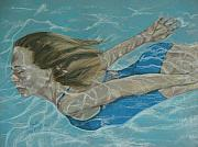 Bathing Pastels Prints - The Swimmer Print by Sandra Valentini