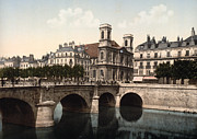 Madeleine Prints - The Swing Bridge and Madeleine Church in Besancon - Doubs - France Print by International  Images