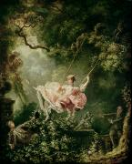 Rococo Framed Prints - The Swing  Framed Print by Jean-Honore Fragonard