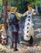Swing Painting Metal Prints - The Swing Metal Print by Pierre Auguste Renoir