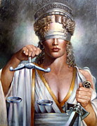 Greek Sculpture Painting Metal Prints - The Sword and Scales of Justice Metal Print by Geraldine Arata