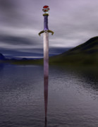 Blade Digital Art Framed Prints - The sword excalibur on the lake Framed Print by Nicholas Burningham