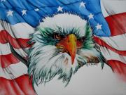 American Bald Eagle Painting Prints - The Symbol Print by Maria Barry