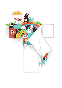 Cartoon Monster Prints - The T in the Team Print by Budi Satria Kwan