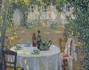 French Wine Bottles Painting Posters - The Table in the Sun in the Garden Poster by Henri Le Sidaner