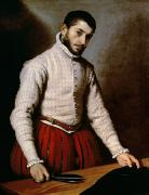 Portrait Paintings - The Tailor by Giovanni Battista Moroni